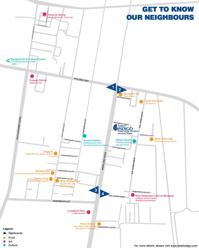 Picture of hotel indigo bangkok wireless road bangkok tripadvisor - Map Of The Hotel Indigo Bangkok Wireless Road Neighbourhood