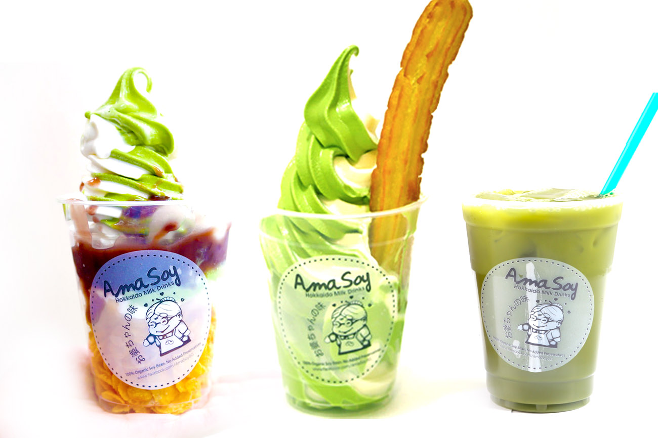 AmaSoy - Matcha Softserve Churros & Hokkaido Milk Drinks Now Available At Jurong Point & Bugis Plus