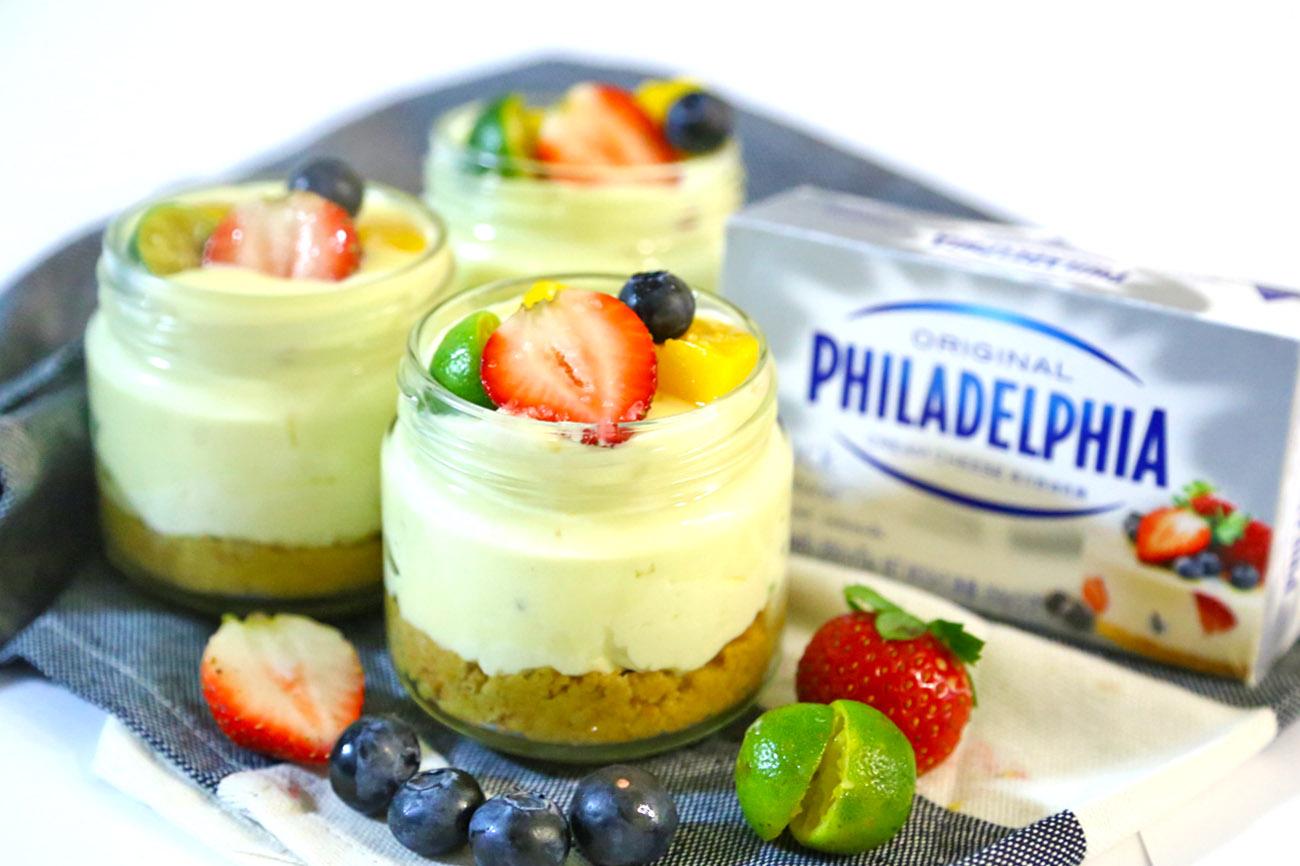 PHILADELPHIA Margarita Cheesecake Jars Recipe - No Bake Dessert Fun