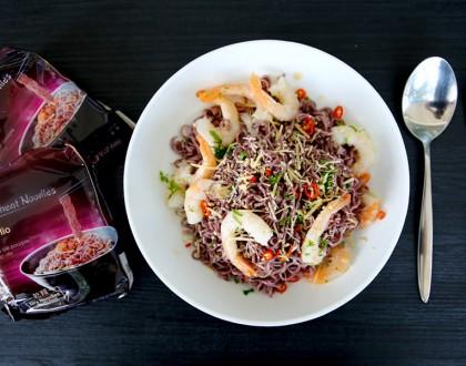 KOKA PURPLE Wheat Noodles, Aglio Olio with Shrimp & Chilli Recipe. Purple Is In!