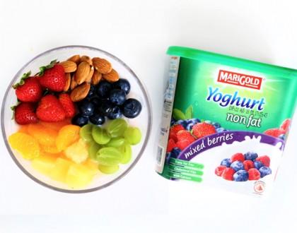 Homemade Rainbow 'Bingsu' with MARIGOLD Non Fat Yoghurt