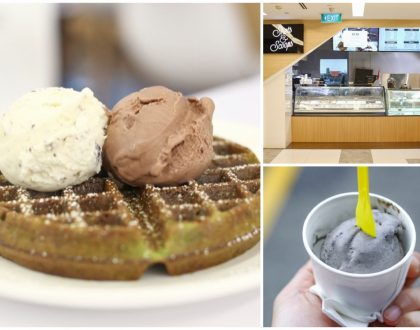 Shots & Scoops - Ice Cream Cafe At PoMo Selegie. $4.50 Matcha Waffles, Strawberry Watermelon Sorbet