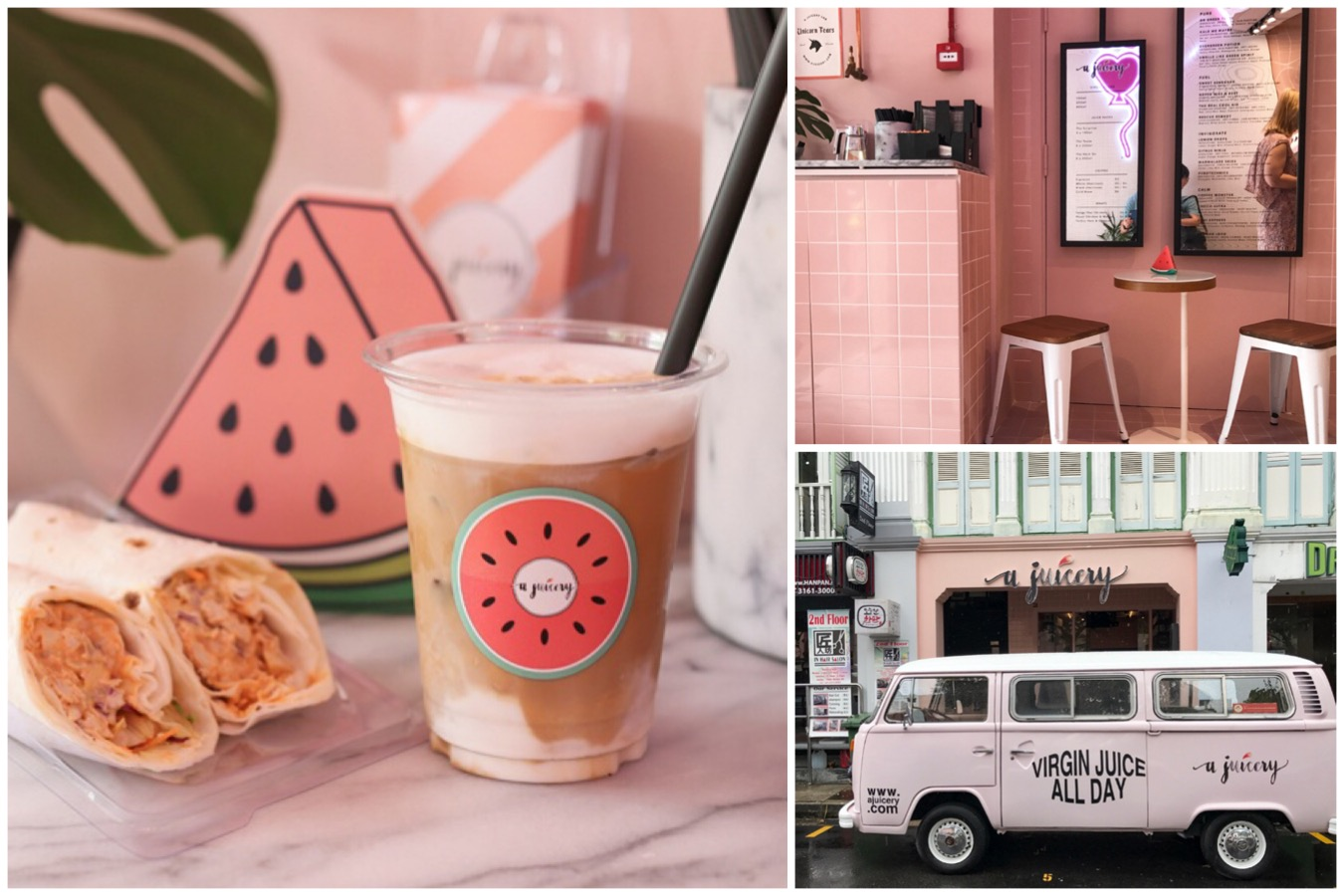 A Juicery - Pink Cafe & Juice Place At Lor Telok, Look Out For The *Secret* Strawberry Latte
