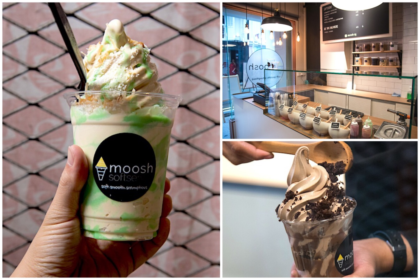 Moosh - Ondeh Ondeh And Nutella Brownie Cheesecake Softserve, From Muslim Owned Shop At Haji Lane