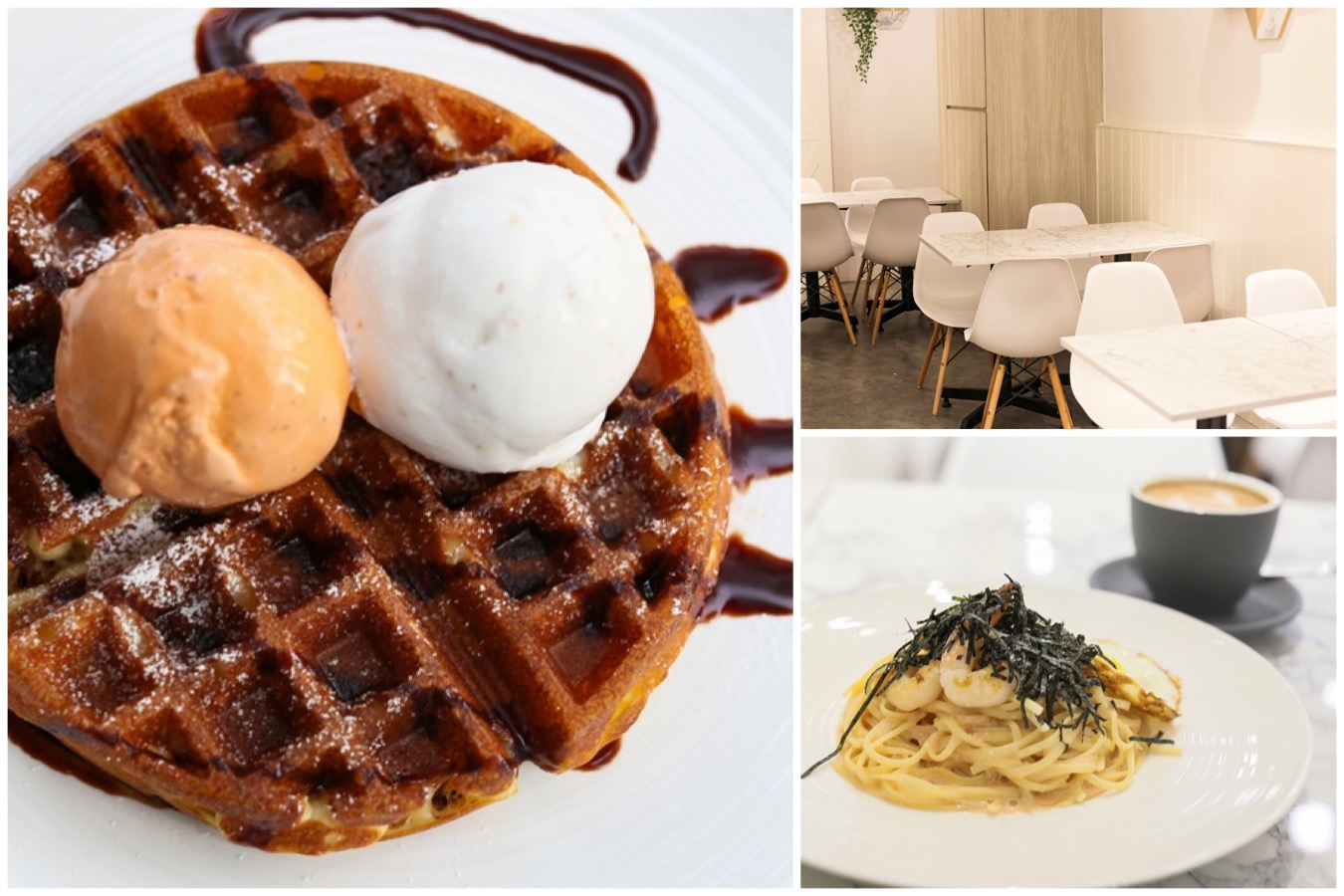 Carrara Café - Ice Cream Cafe Serving Mentaiko Pasta And Marmite Fried Chicken Waffles. At Jalan Bukit Merah