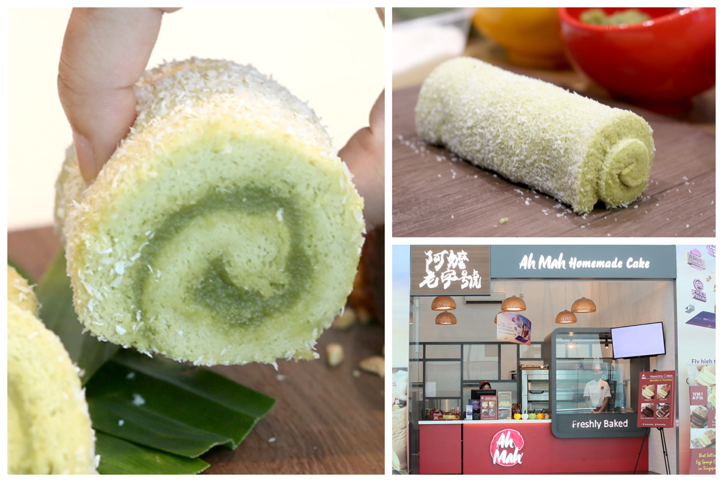"Ah Mah Homemade Cake - Design Your Own ""Swiss Roll"", With Pandan, Chocolate And Sesame Flavours"