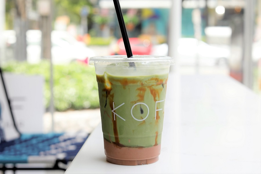 KOF - Bangkok Café With Latte In Cone And Matcha-Camo-Latte Is Instagram Heaven