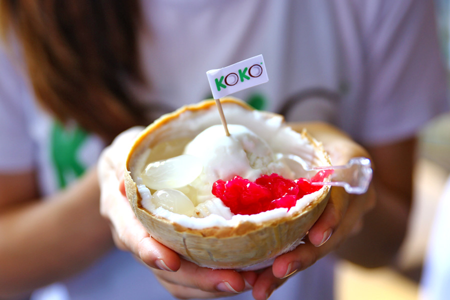 KoKo Thai coconut ice cream served in a half coconut shell, in Singapore